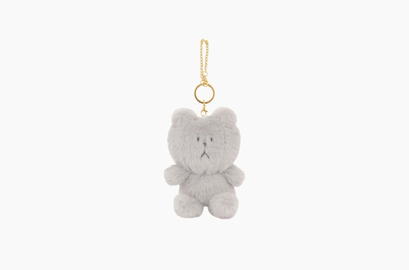 STUFFED GRAY SLOTH KEY RING
