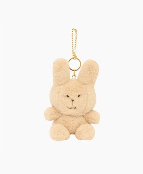 STUFFED IVORY RAB KEY RING